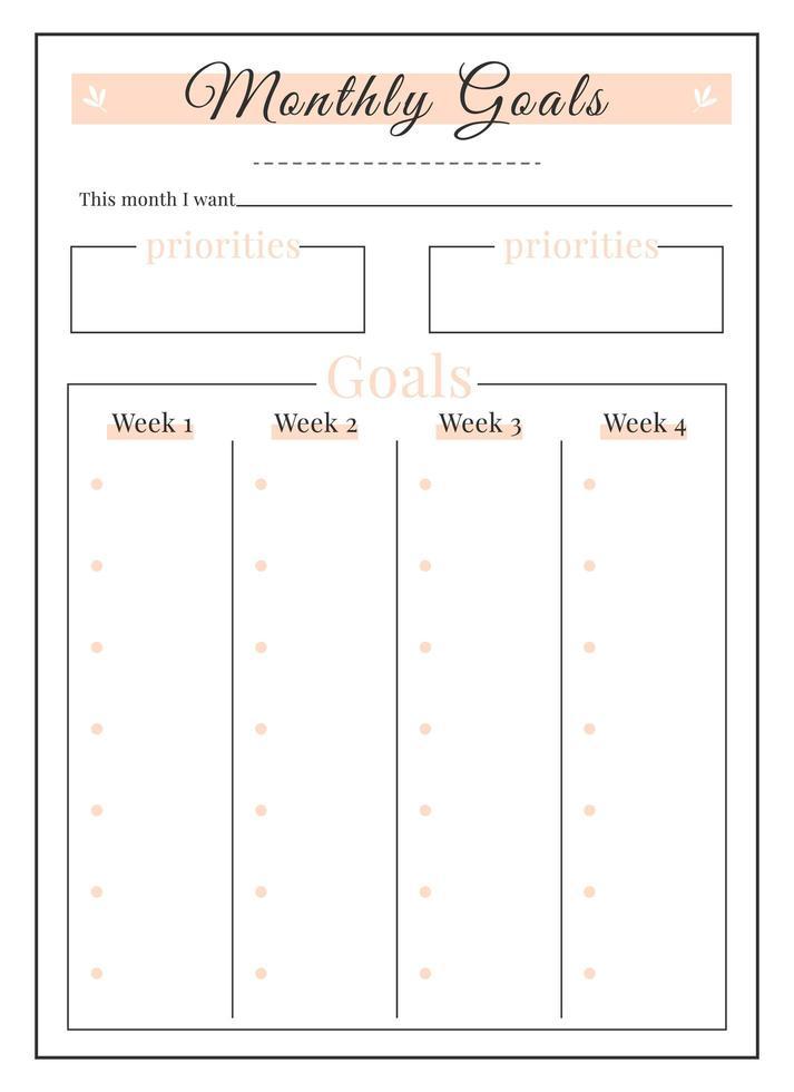 maand doelen minimalistisch planner pagina-ontwerp vector