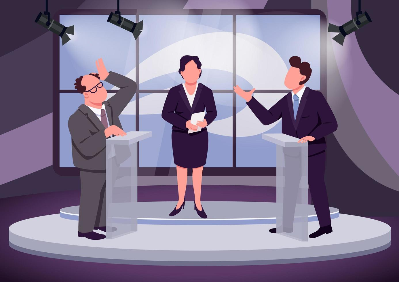 televisie debat scene vector