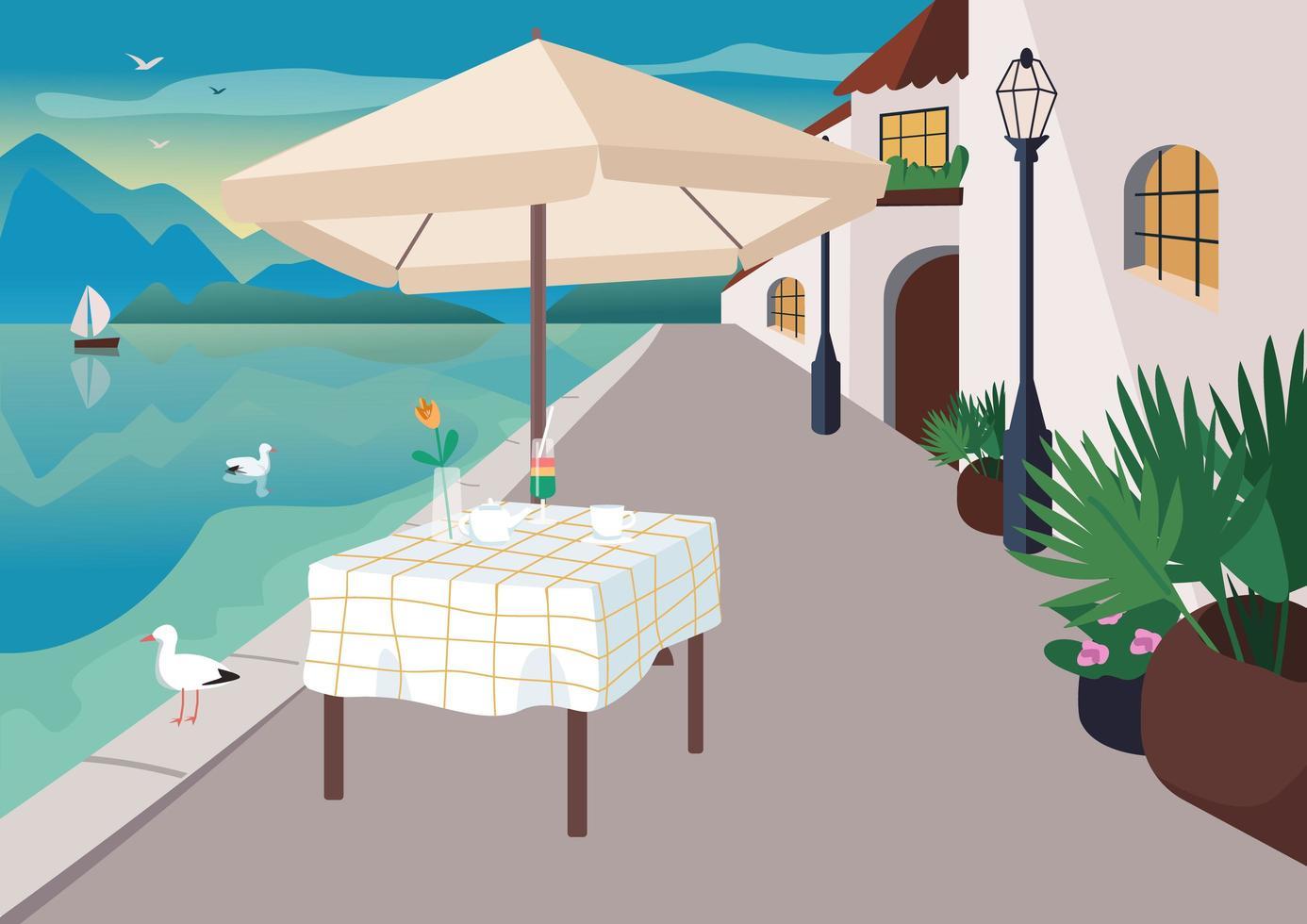 straatrestaurant in badplaatsdorp vector