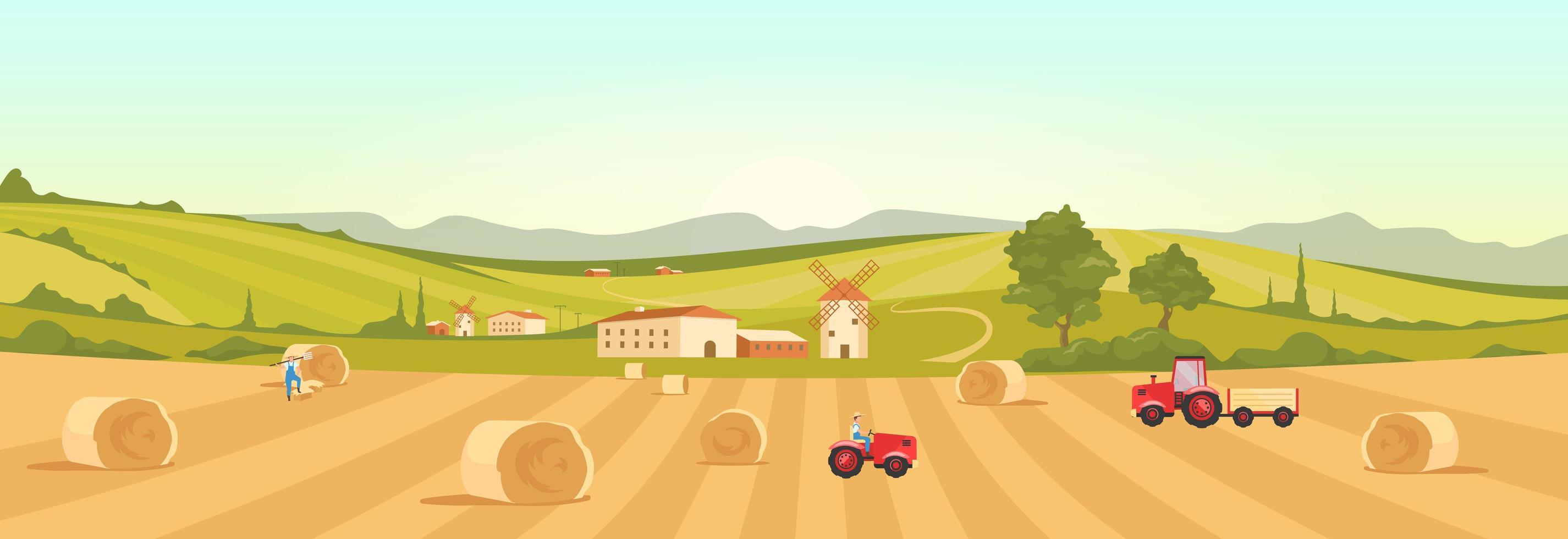 werken op de landbouwgrond vector