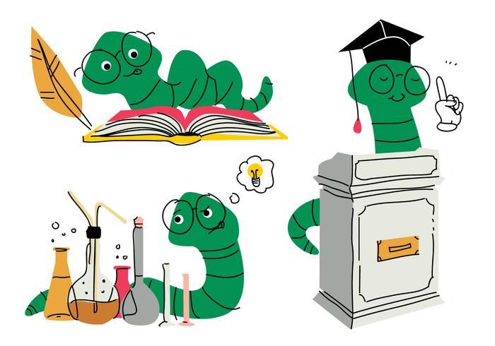 Boek Worm Cartoon Doodle Vector Illustratie