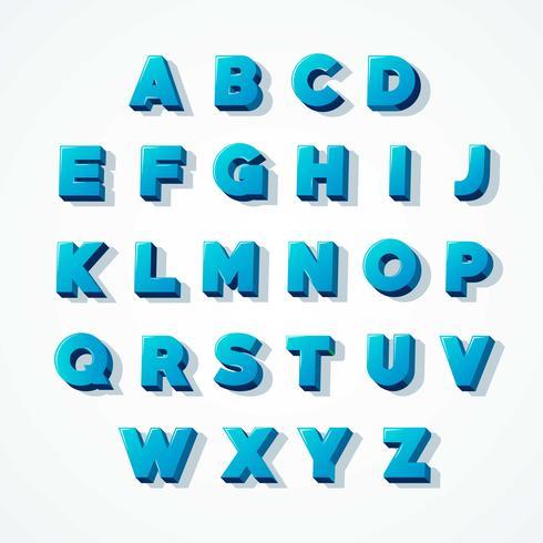 Blauw 3D alfabet lettertype vector