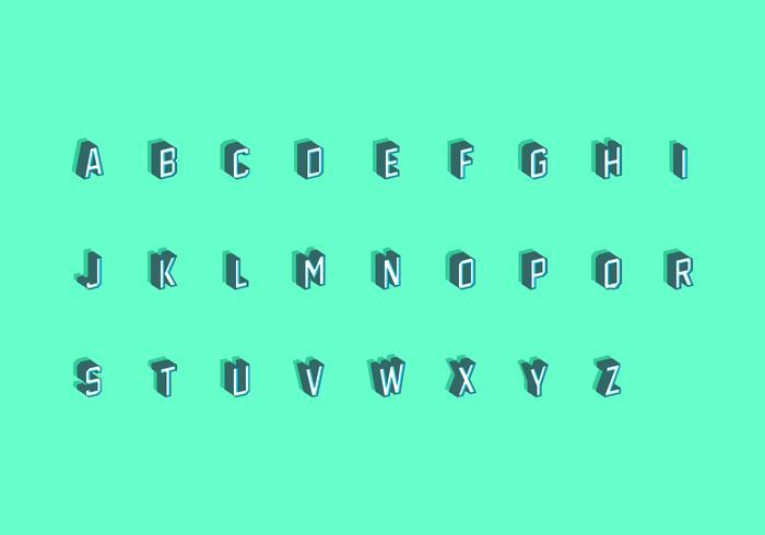 3D Isometrische Fonts Gratis Vector