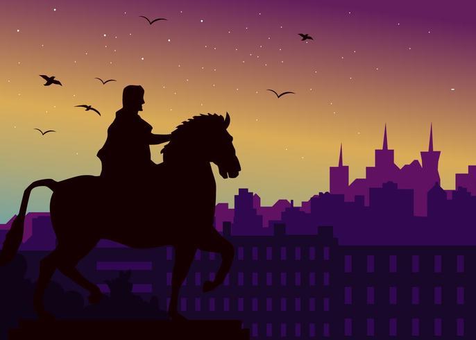 Silhouet van de stad Lyon vector