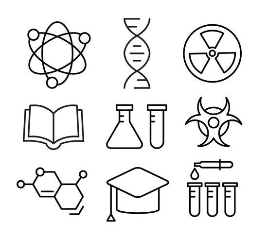 Gratis lineaire chemie iconen vector