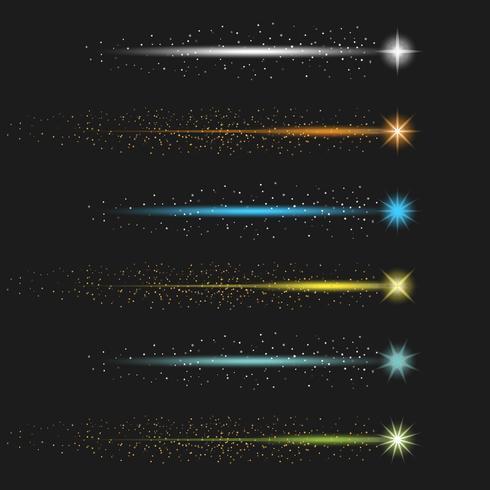 Kleurrijke sterrenstof met staart Vector collectie