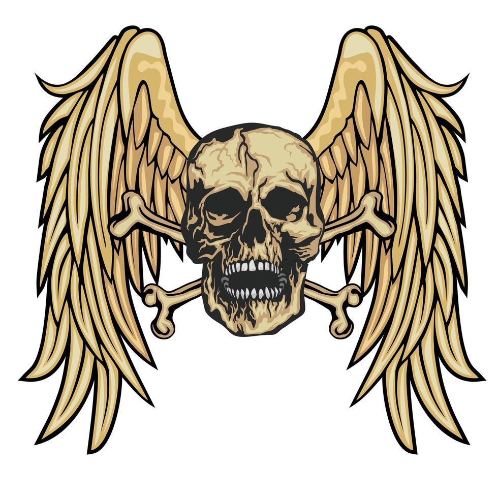 grunge schedel en vleugels vector