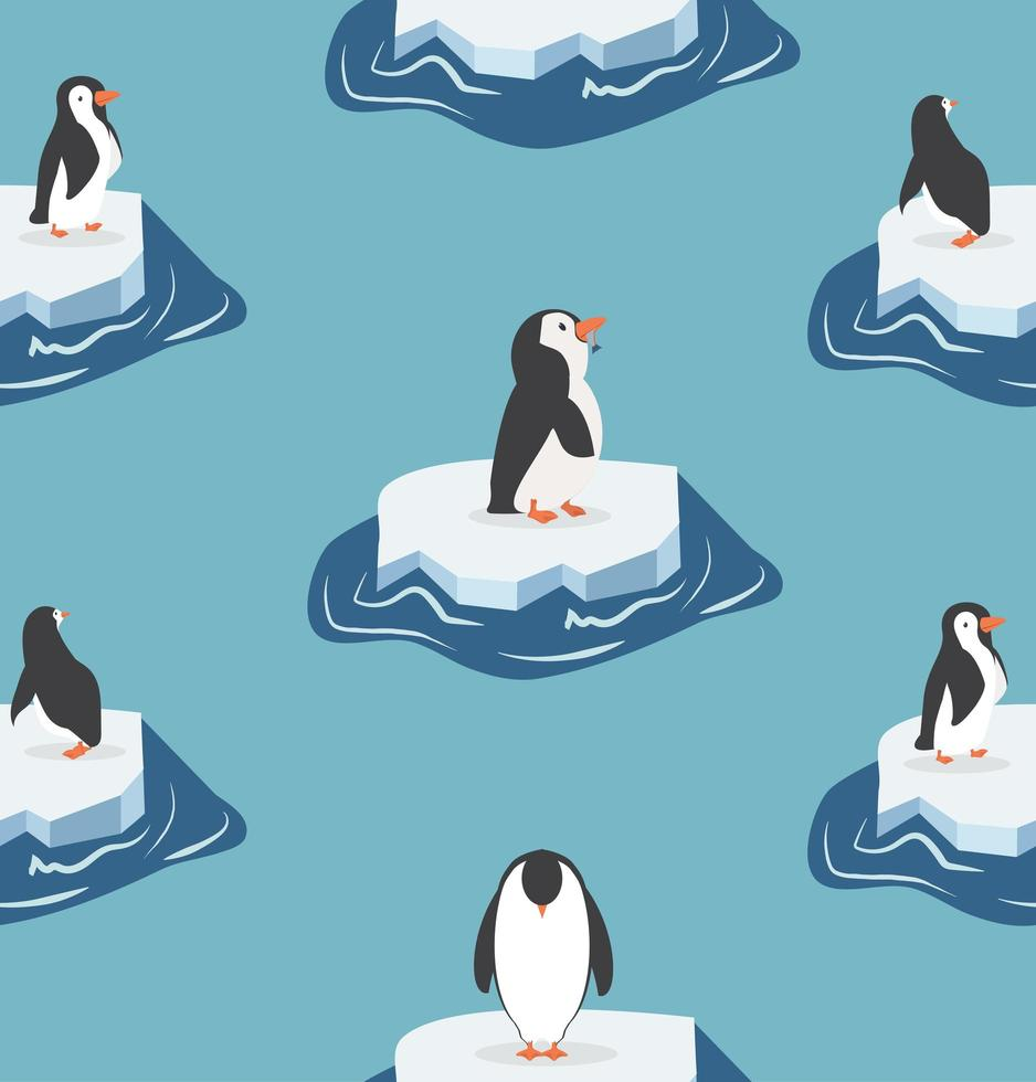 schattige pinguïns op een stuk ijsbergpatroon vector
