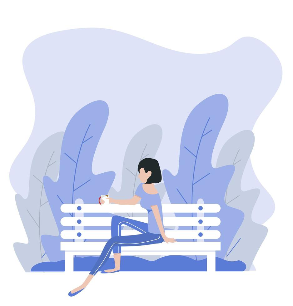 vrouw zitbank natuur achtergrond vector