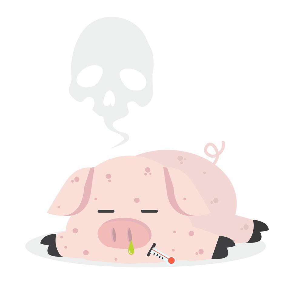 ziek varken met varkensgriep vector