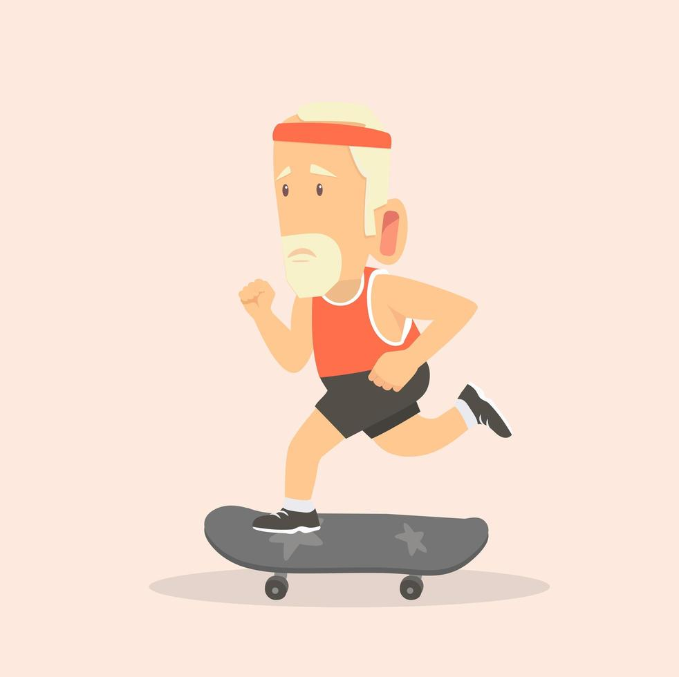 man met skateboard vector