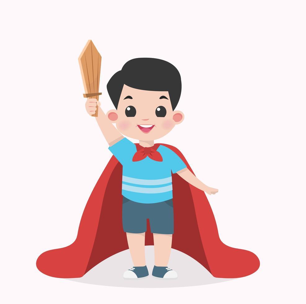 jongen jongen met een houten zwaard en een cape vector
