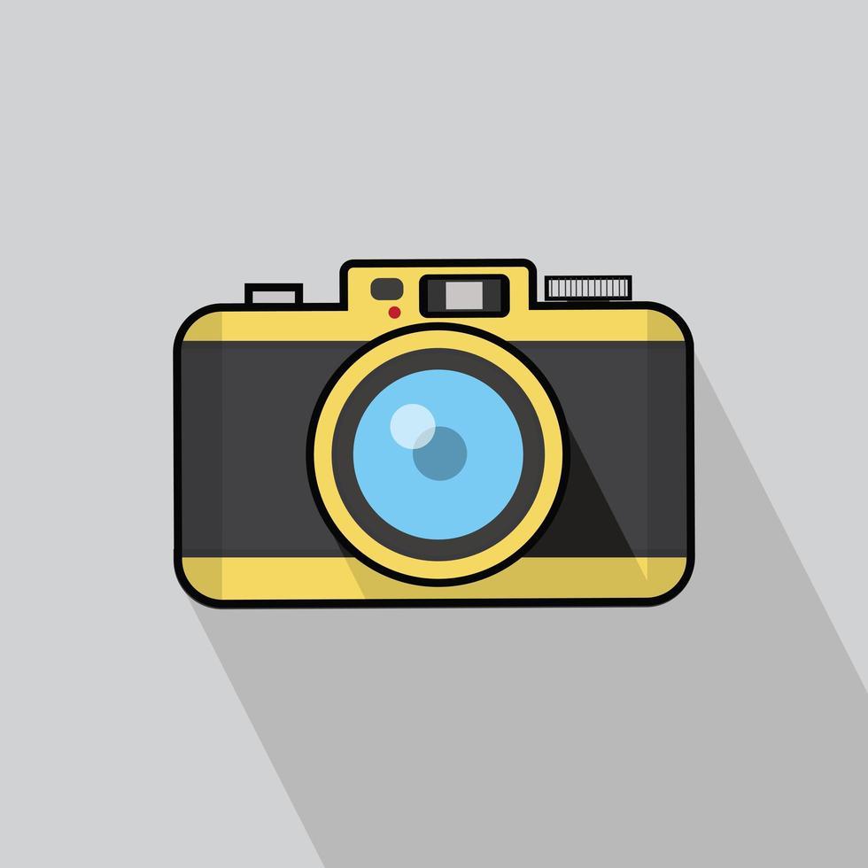 vintage camera platte ontwerp vector met lange schaduw