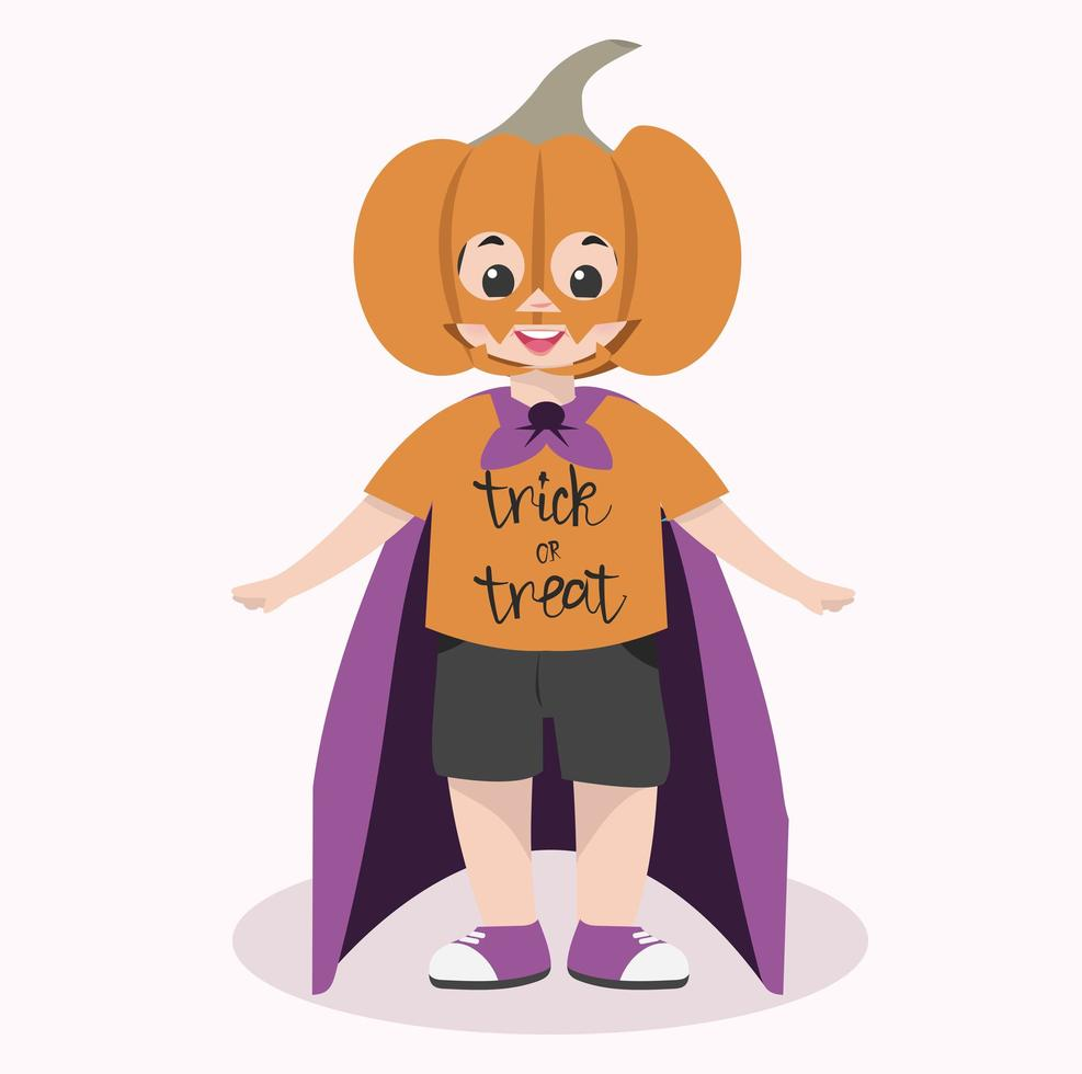 schattig kind halloween karakter dragen pompoen masker vector