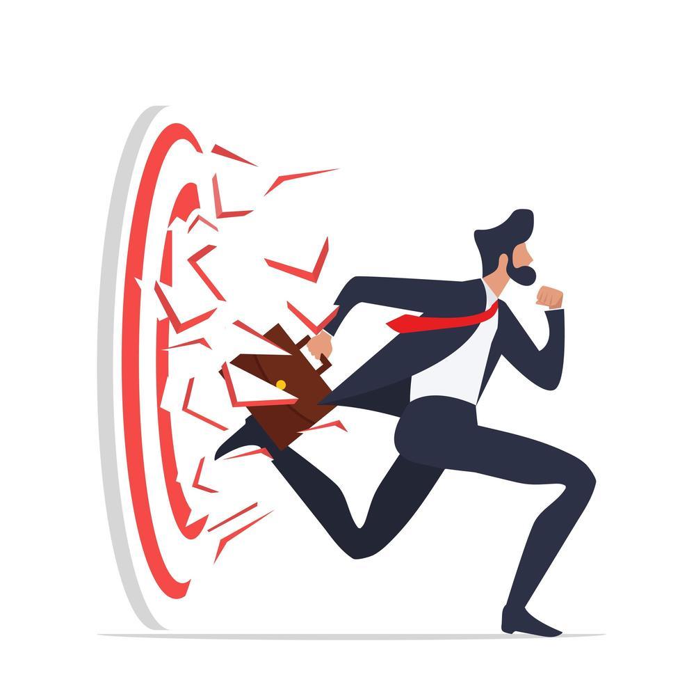 zakenman rennen brekend doel boogschieten tot succesvol vector