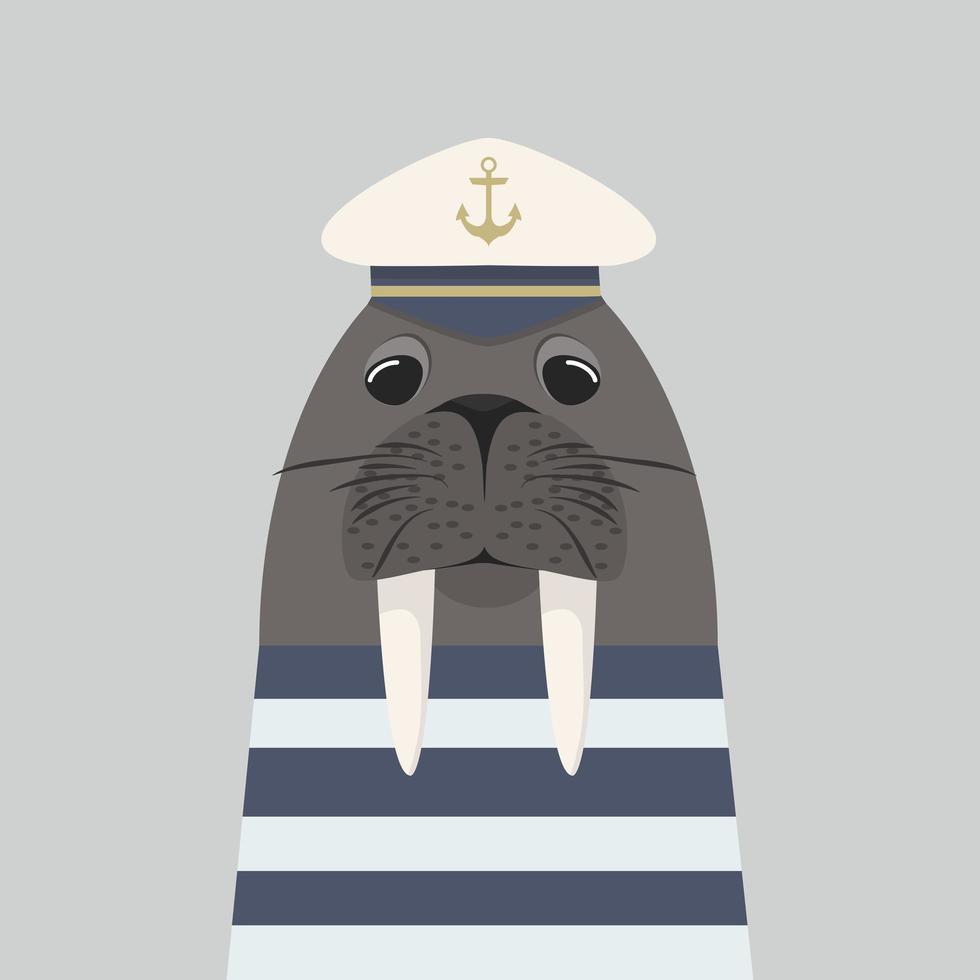 walruskapitein met zeeman vector