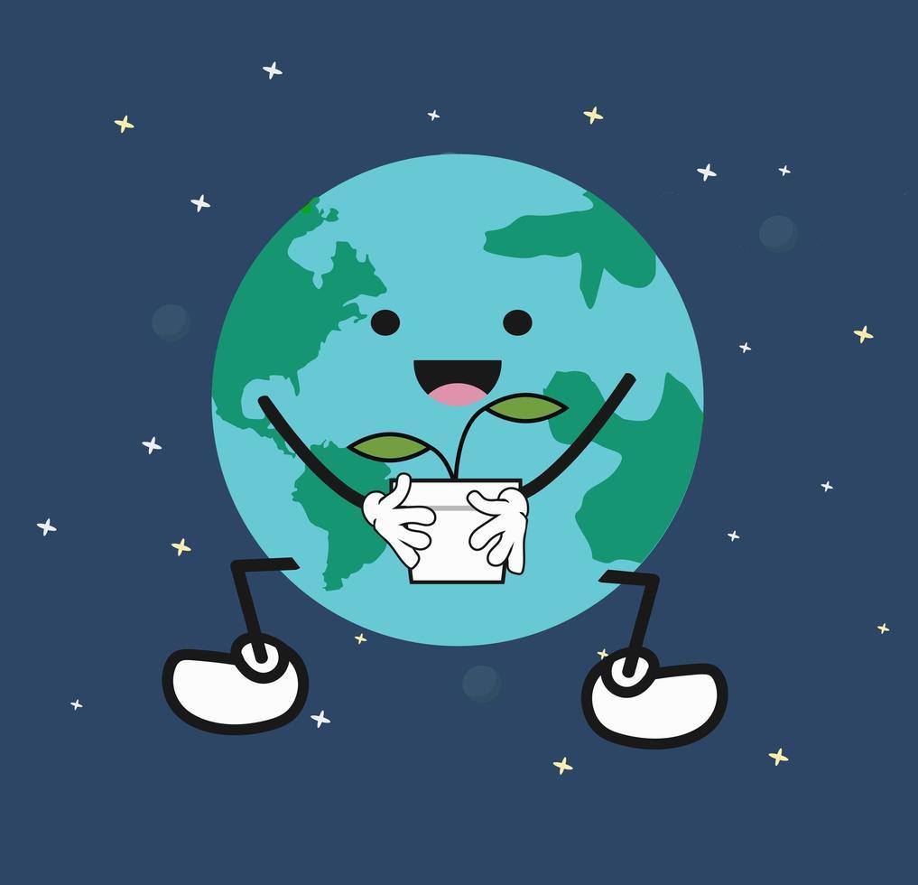 schattige cartoon aarde bedrijf plant vector