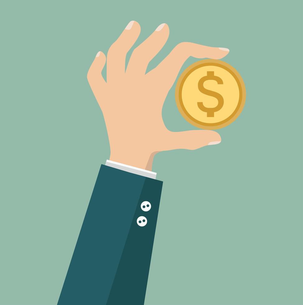 hand zakenman houdt grote munt vector