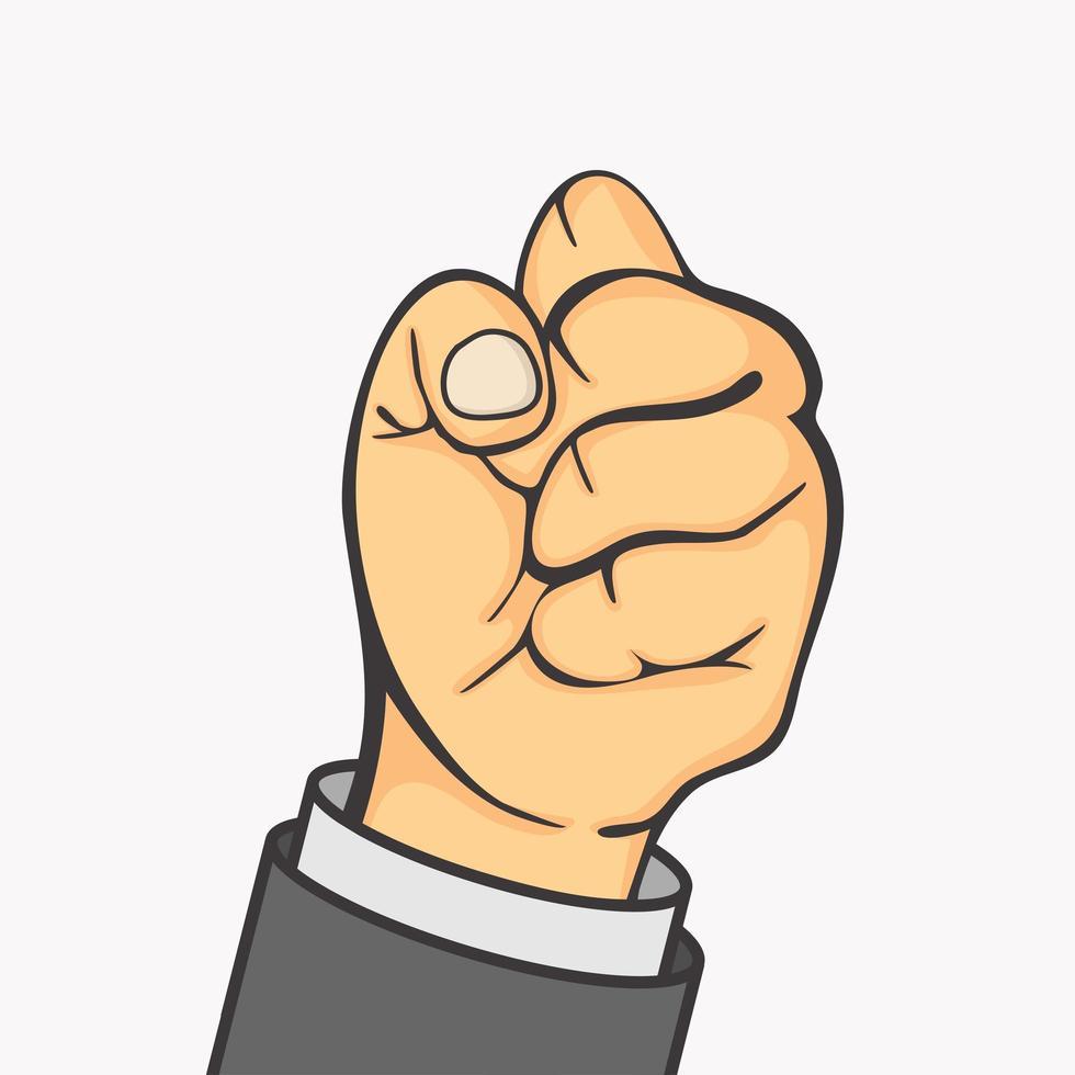 hand zakenman vuist gebaar maken vector
