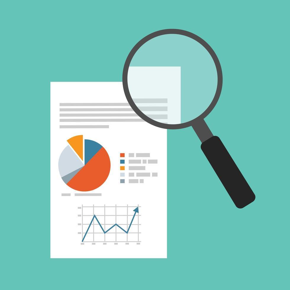 data-analyse met vergrootglas vector