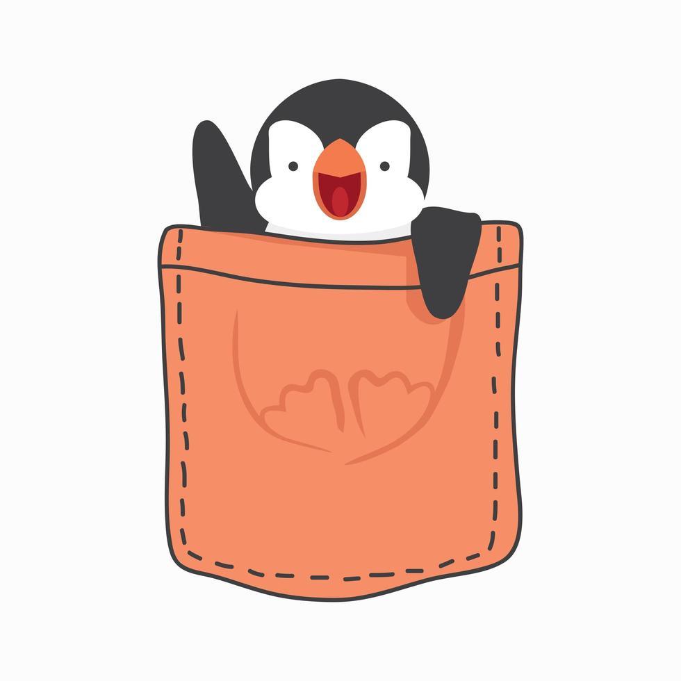 schattig pinguïnvet in de zakvector vector