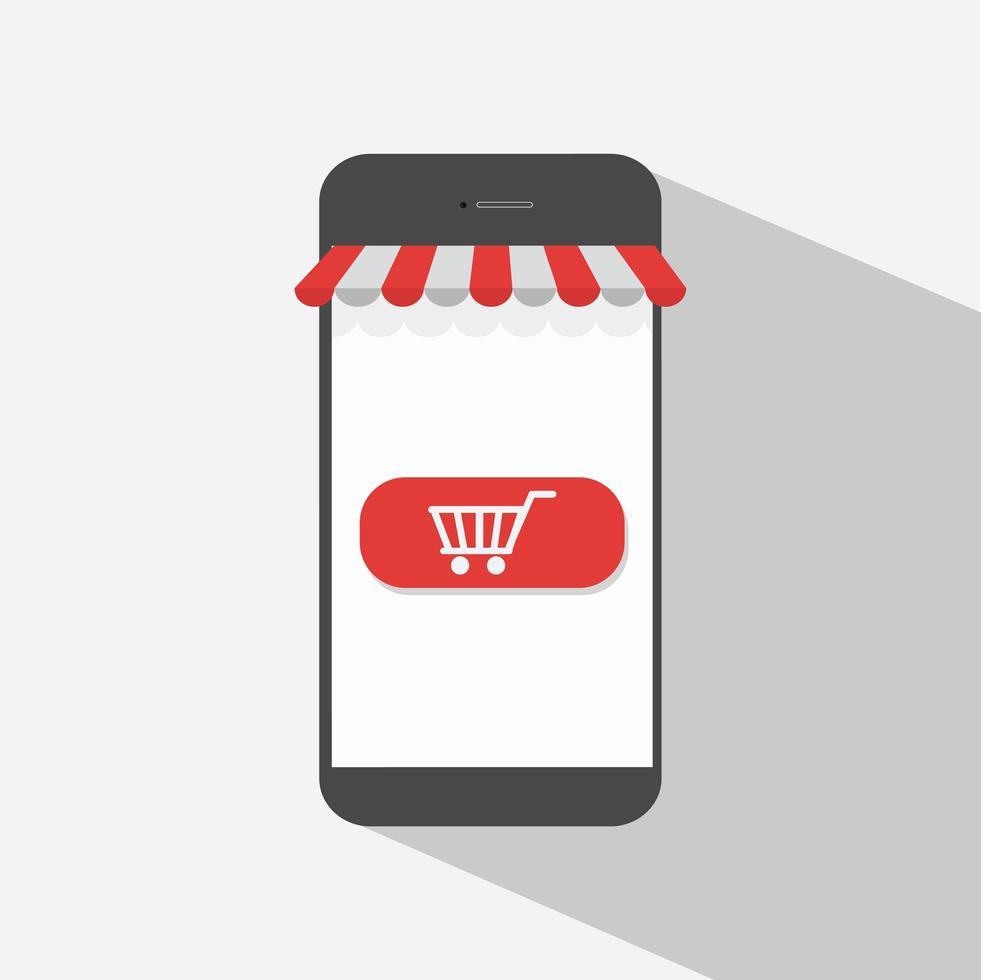 mobiel winkelen plat ontwerp vector