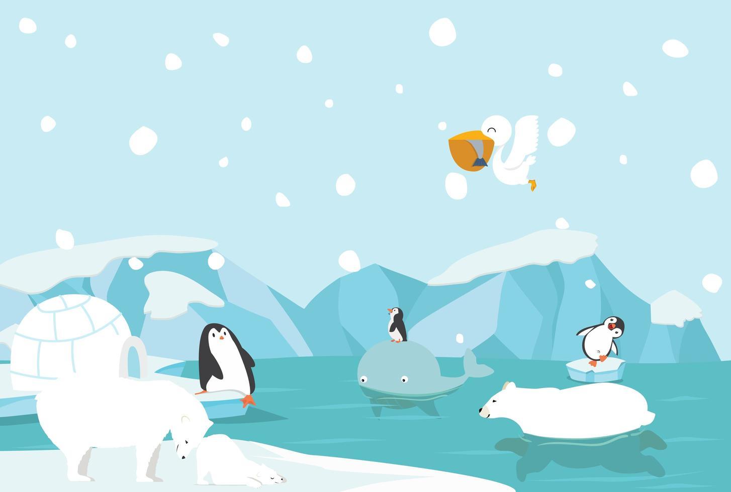 winter noordpool arctisch landschap vector