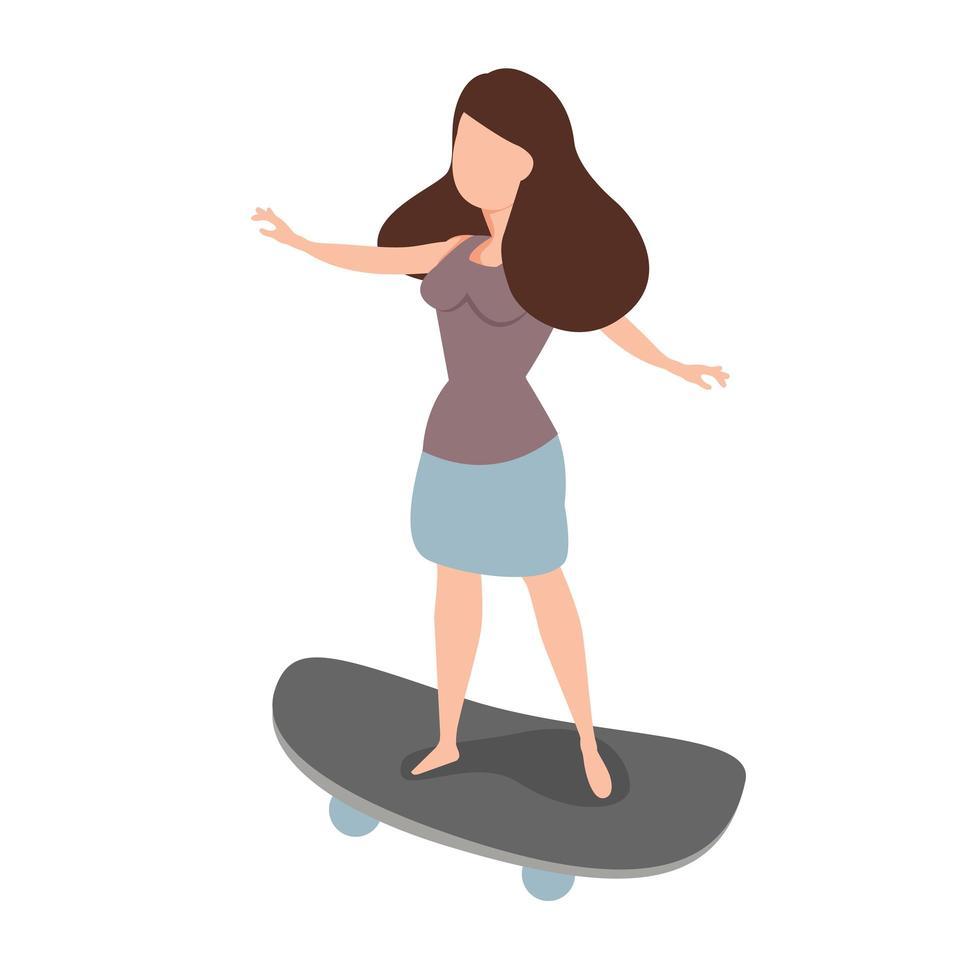 vrouw skateboarder rijden een skate vector