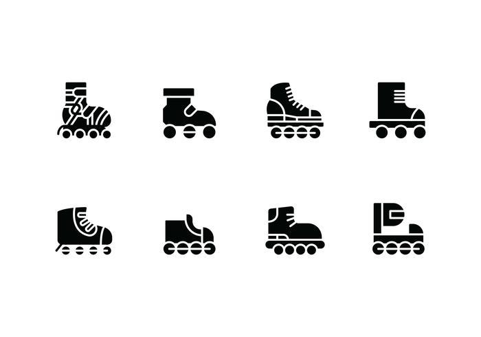 Rollerblade instellen vector iconen