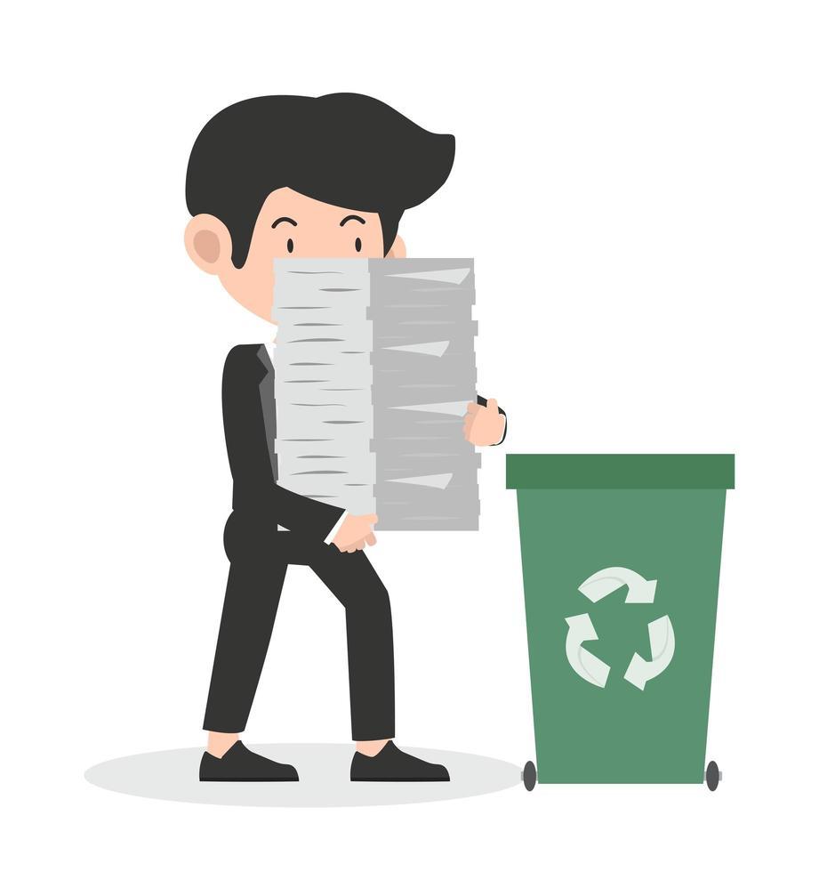 zakenman bedrijf papier recycling concept vector