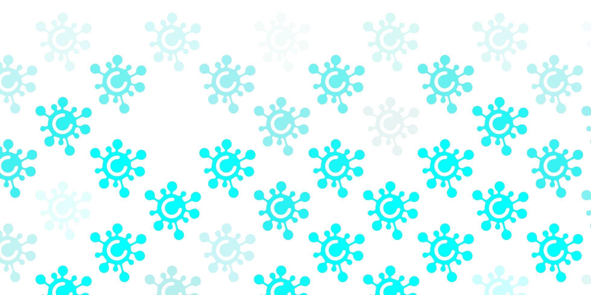 lichtblauw patroon met coronavirus-elementen. vector