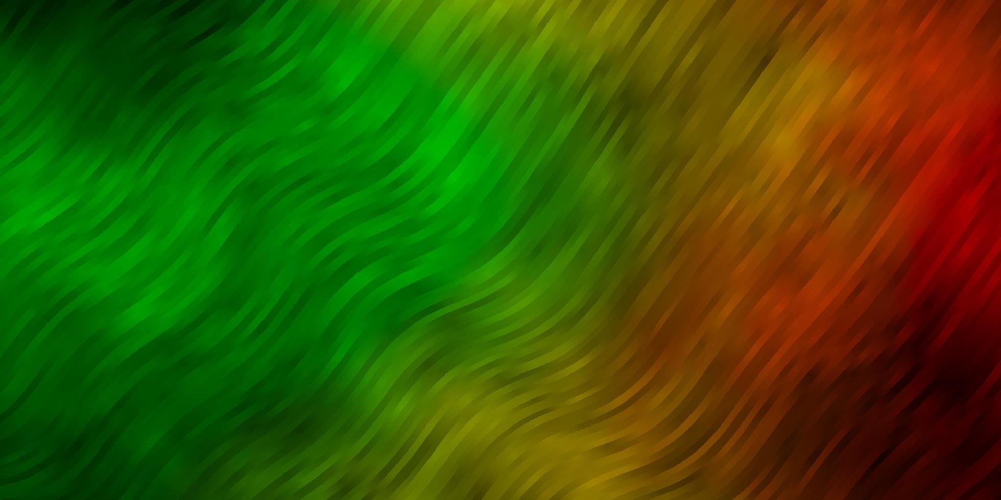 donkergroene, gele vectortextuur met wrange lijnen. vector