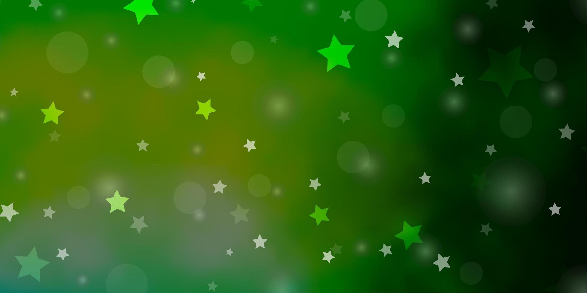 lichtgroene achtergrond met cirkels, sterren. vector