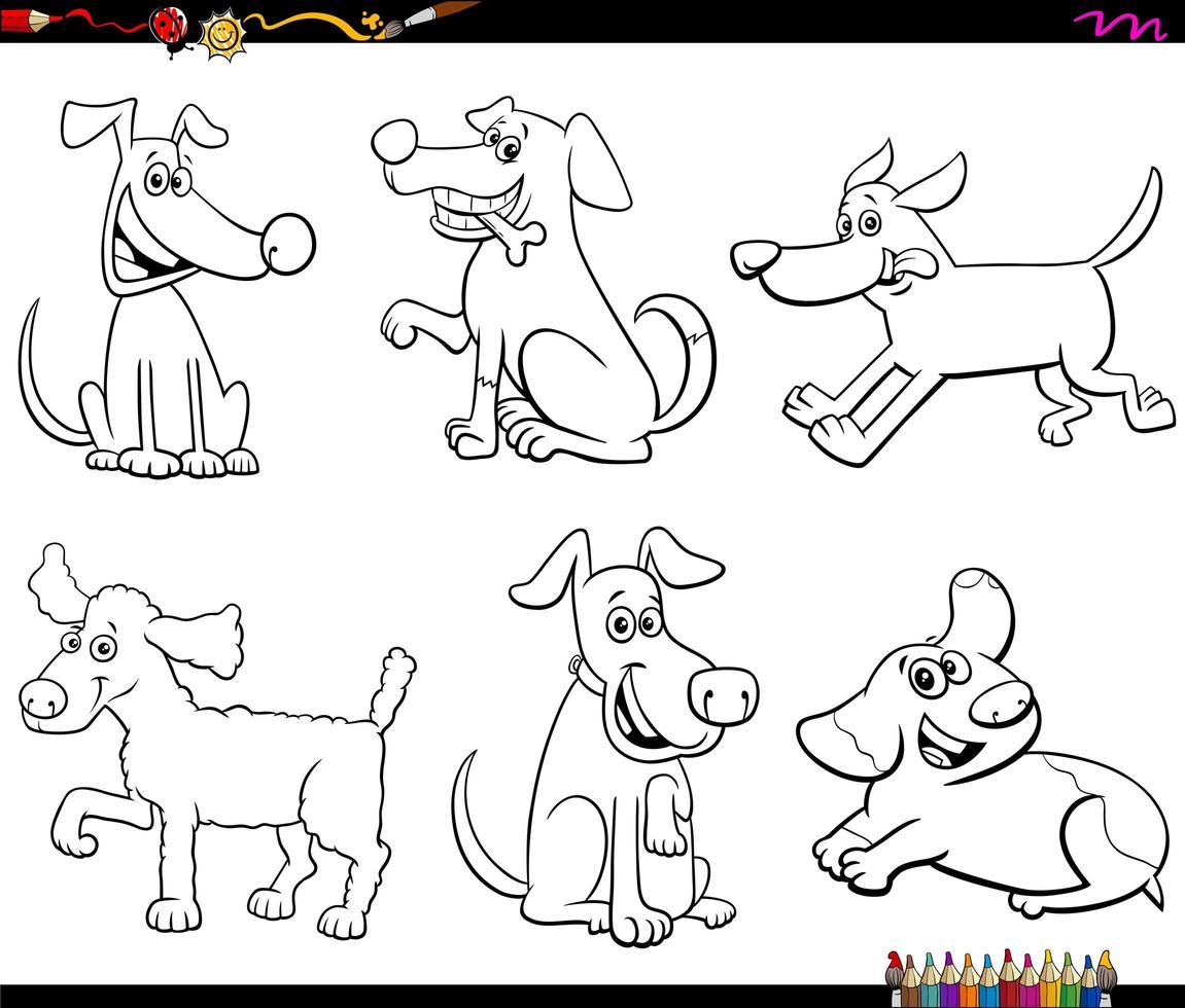 cartoon honden en puppy's kleurenboekpagina vector