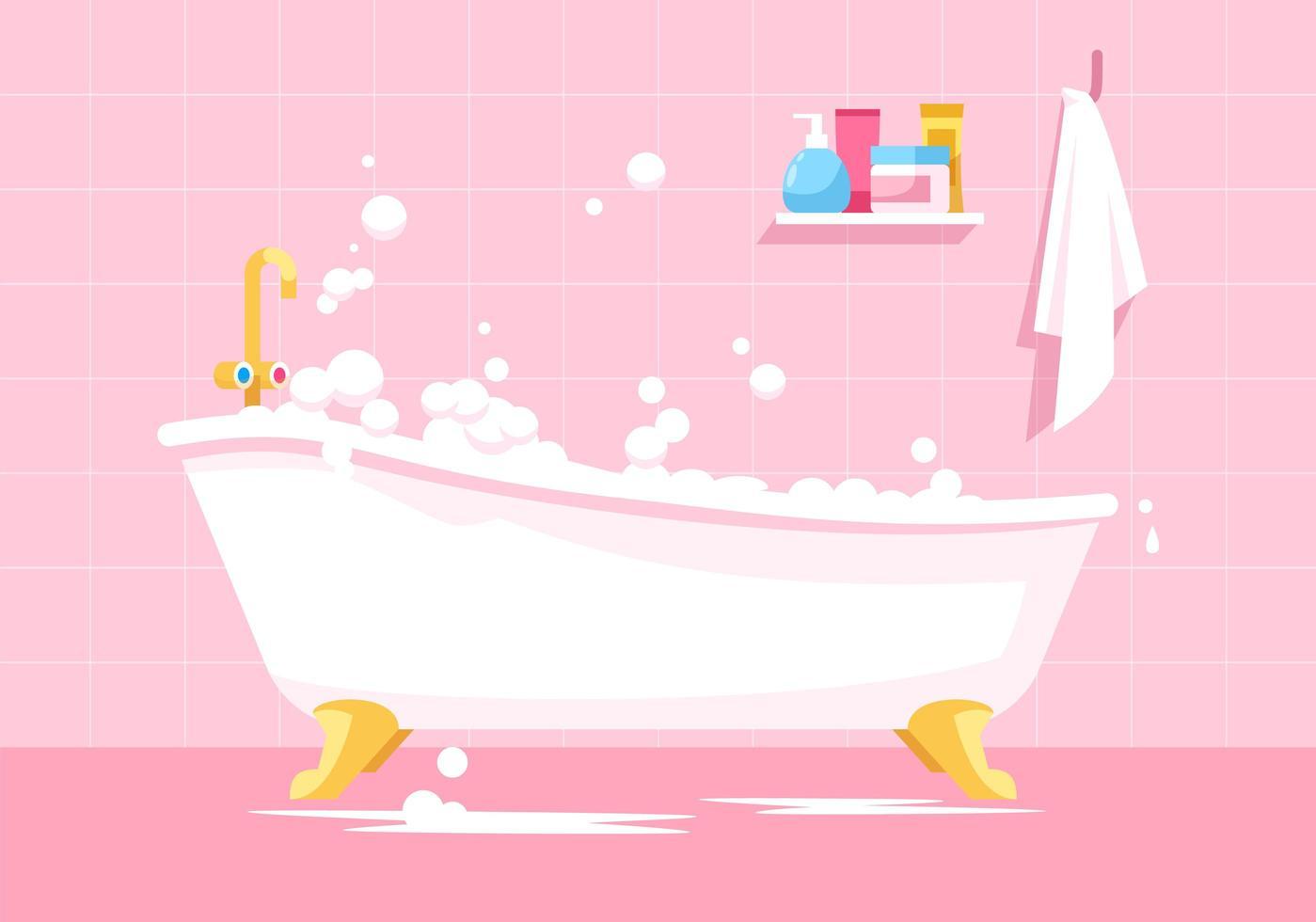 roze badkamer cartoon vector