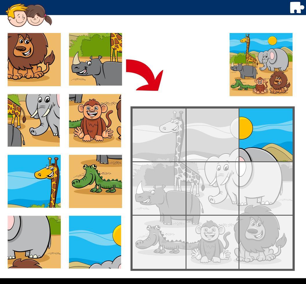 puzzelspel met tekenfilm dieren vector