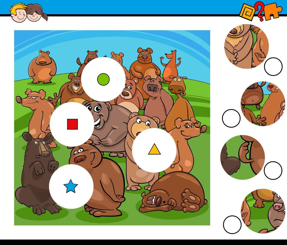 match stukjes puzzel met beer karakters groep vector