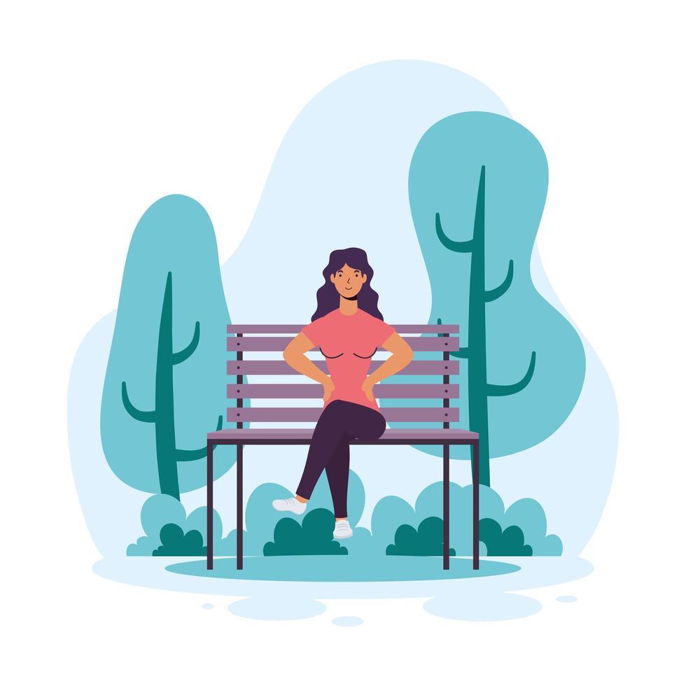 jonge vrouw zittend op de stoel park vector