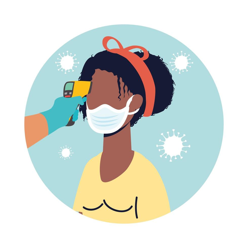 controleer de temperatuur met een laserthermometer voor een vrouwelijke afro-patiënt vector