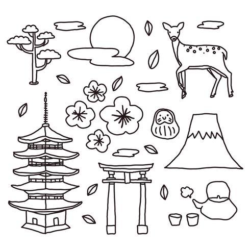 Japanse elementen Doodles vector