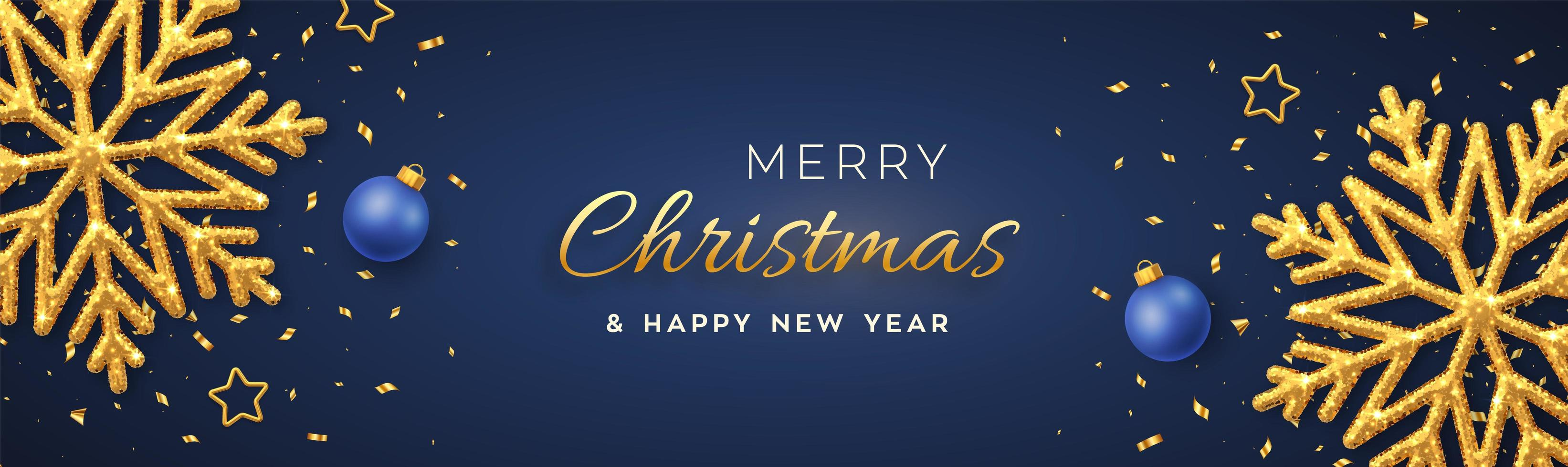 Kerstmis blauwe achtergrond met glanzende gouden sneeuwvlokken vector