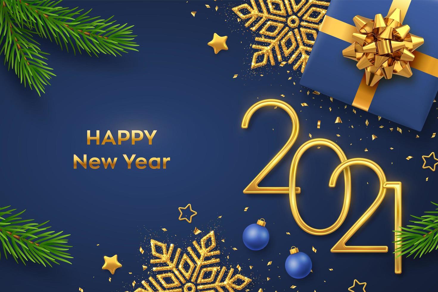 gelukkig nieuwjaar gouden metallic nummers 2021 vector