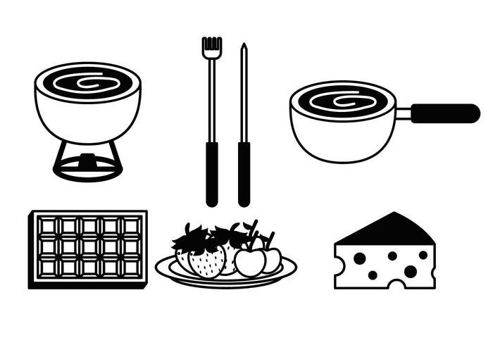 fondue vector set