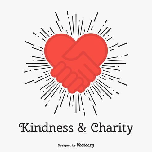 Vriendelijkheid en liefdadigheid Vector Concept met Hand Shake Love Heart Icon
