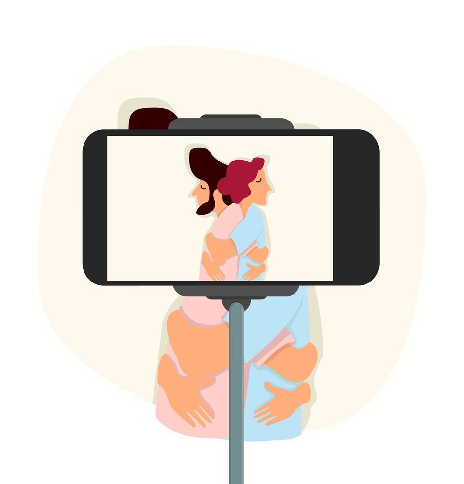 gelukkige paar knuffelen en selfie te nemen vector