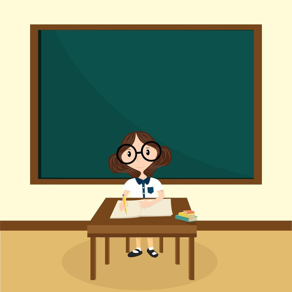 het meisje dat in de klas leert vector