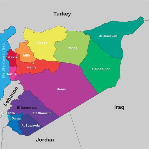 Politieke kaart van Syrië vector