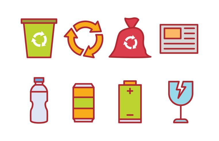 Recycling van afval sorteren icon pack vector