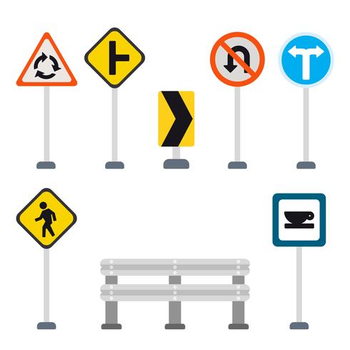 Platte verkeersbord vectoren