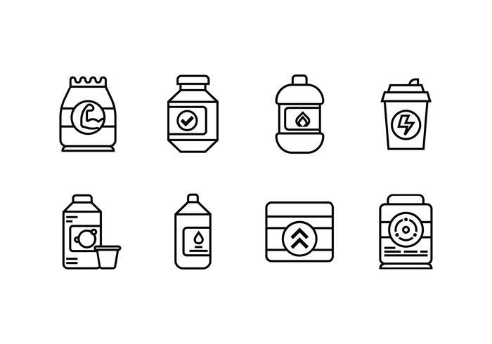 Supplement ingesteld lineair pictogram vector